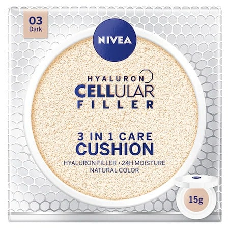 Cel mai bun fond de ten cu proprietăți anti – alergice: Crema coloranta Nivea Hyaluron Cellular Filler 3-in-1 Care Cushion 03 Dark